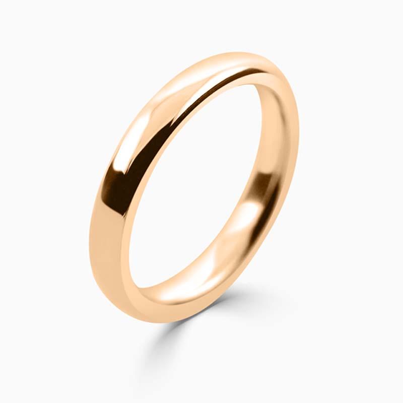 18ct Rose Gold 3mm Slight Court Heavy Weight Wedding Ring