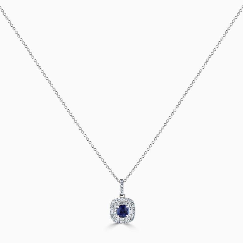 18ct White Gold Cushion Sapphire & Diamond Double Halo Pendant