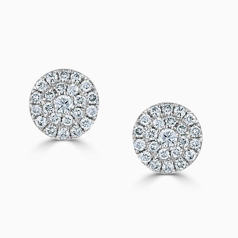 18ct White Gold Medium Round Cluster Stud Earrings