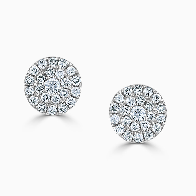 18ct White Gold Medium Round Cluster Stud Earrings