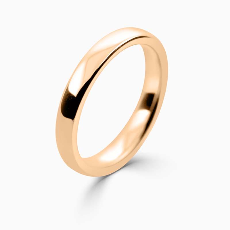 18ct Rose Gold 3mm Slight Court Medium Weight Wedding Ring