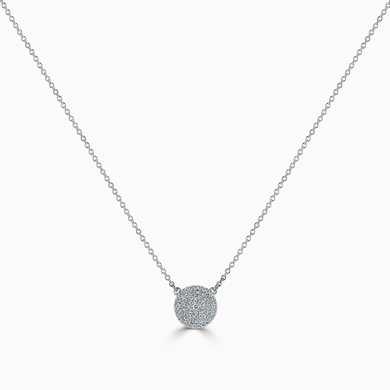 18ct White Gold Round Disk Pendant