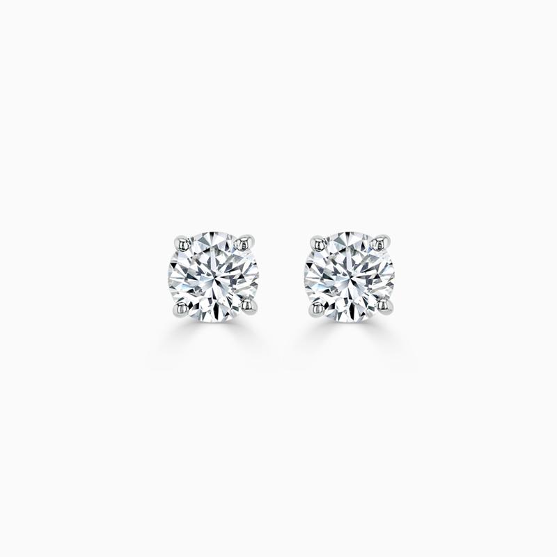 18ct White Gold Round Brilliant Diamond Stud Earrings - (0.20ct)