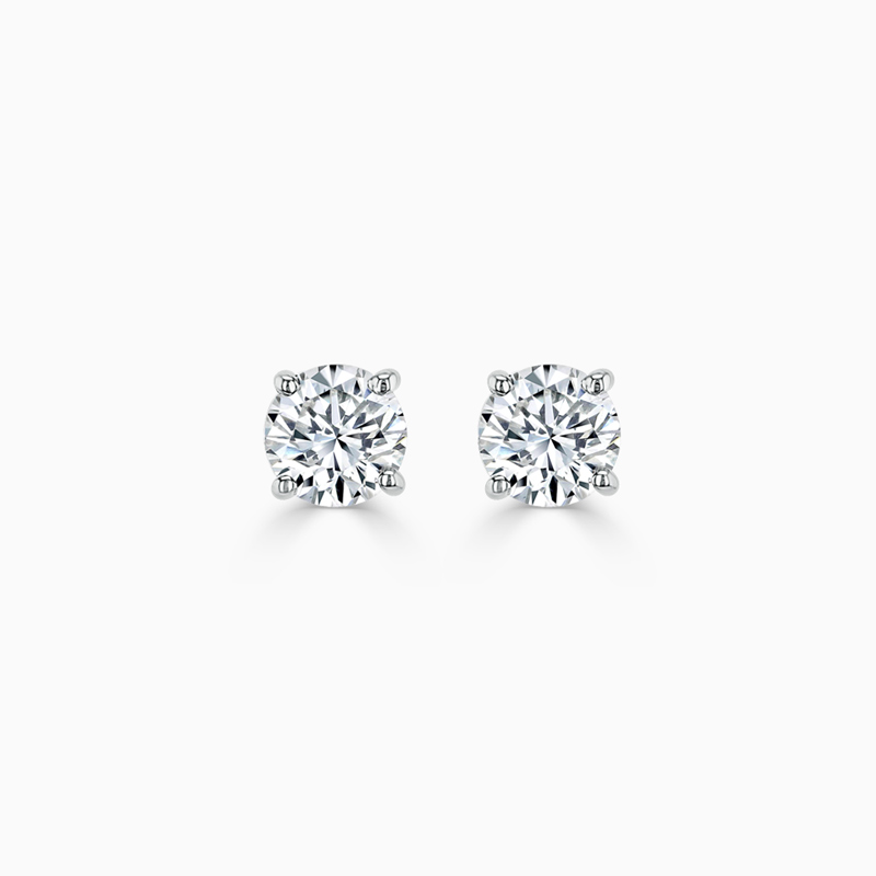 18ct White Gold Round Brilliant Diamond Stud Earrings - (0.20ct)