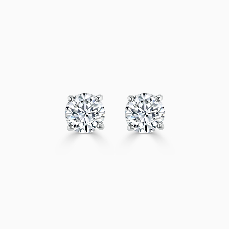 18ct White Gold Round Brilliant Diamond Stud Earrings - (0.30ct)