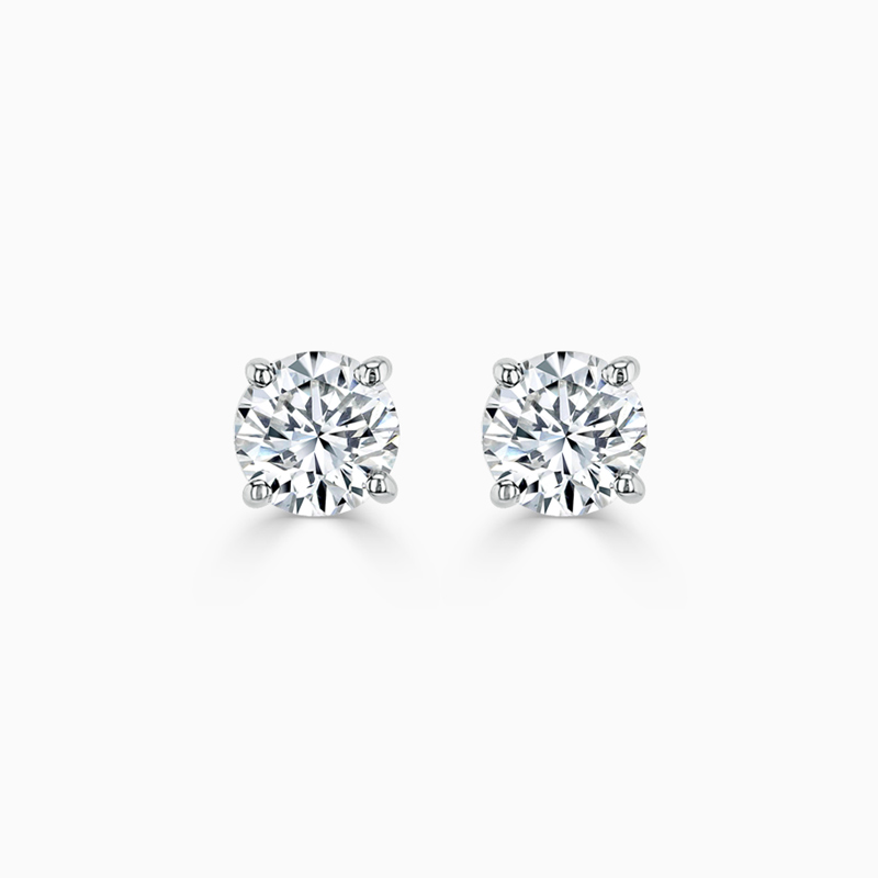 18ct White Gold Round Brilliant Diamond Stud Earrings - (0.50ct)