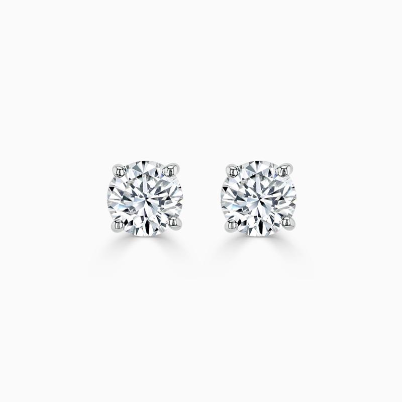 18ct White Gold Round Brilliant Diamond Stud Earrings - (0.50ct)
