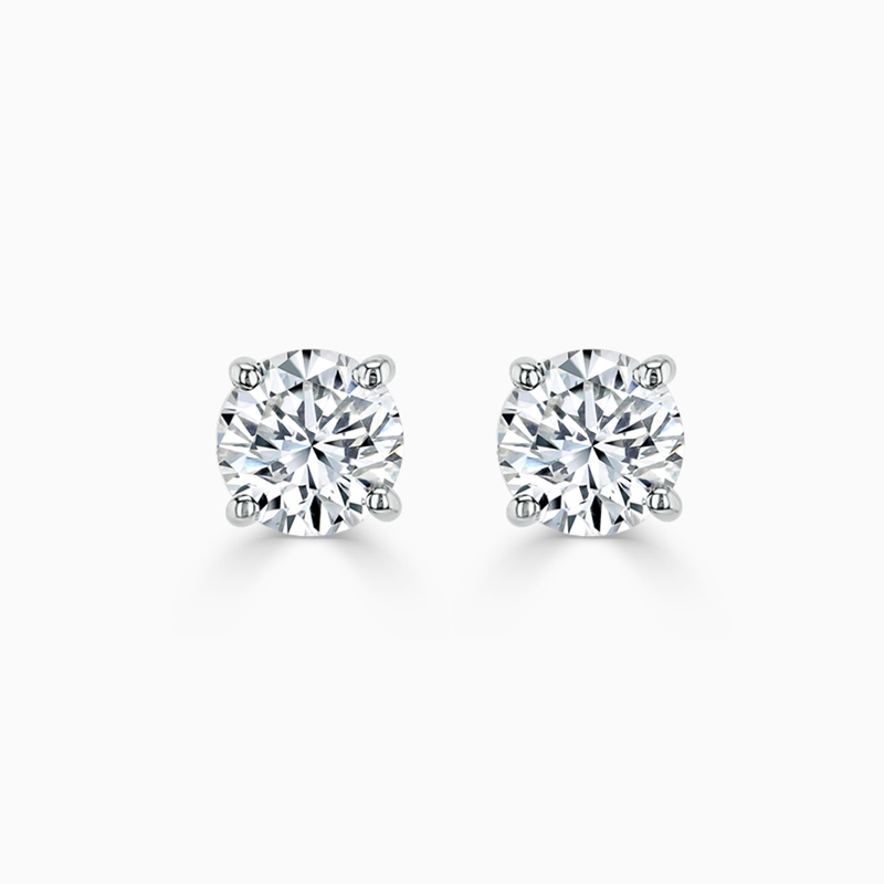18ct White Gold Round Brilliant Diamond Stud Earrings - (0.80ct)
