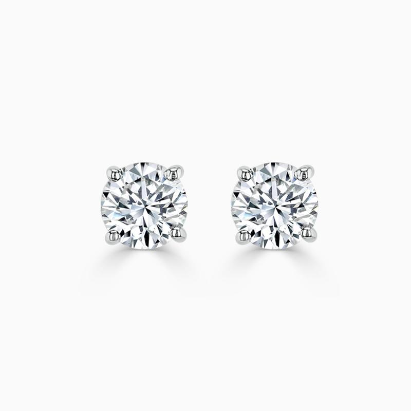 18ct White Gold Round Brilliant Diamond Stud Earrings - (0.80ct)
