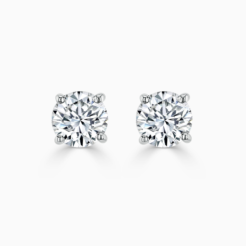 18ct White Gold Round Brilliant Diamond Stud Earrings - (1.00ct)