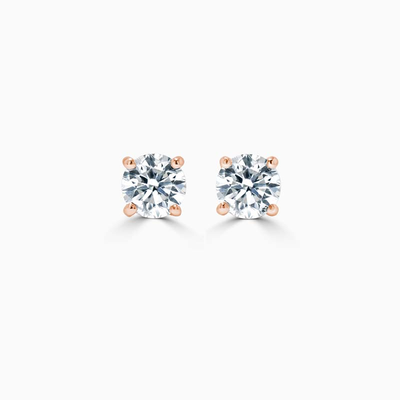 18ct Rose Gold Round Brilliant Diamond Stud Earrings - (0.20ct)