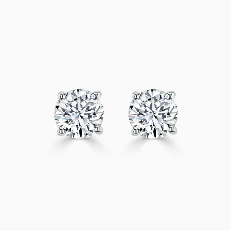 18ct White Gold Princess Cut Diamond Stud Earrings - (0.50ct)