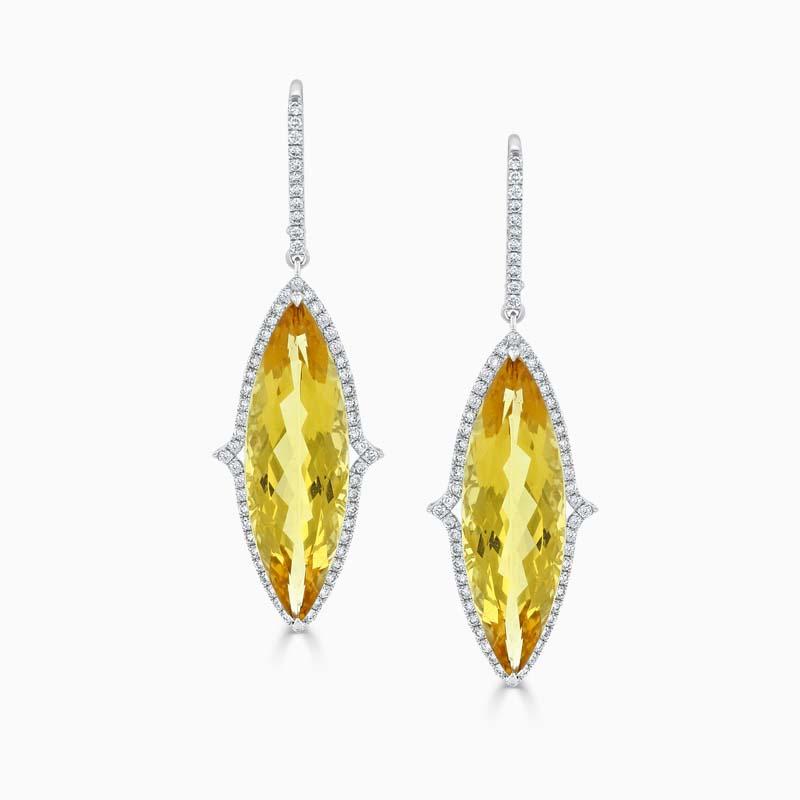 18ct White Gold Golden Beryl & Diamond Halo Drops