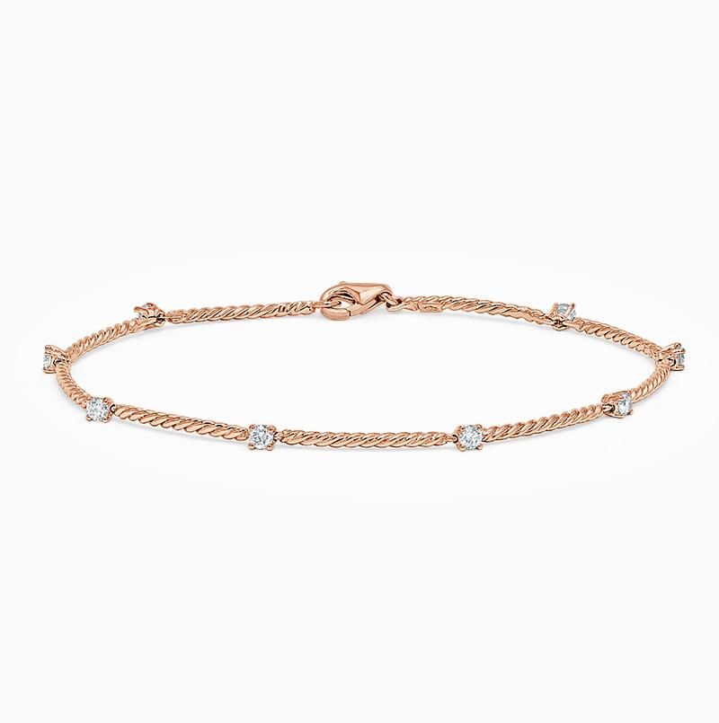 18ct Rose Gold Diamond Set Twisted Bracelet