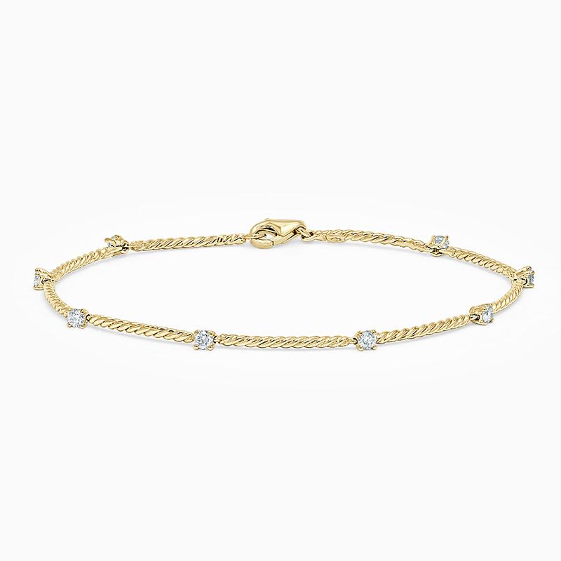 18ct Yellow Gold Diamond Set Twisted Bracelet