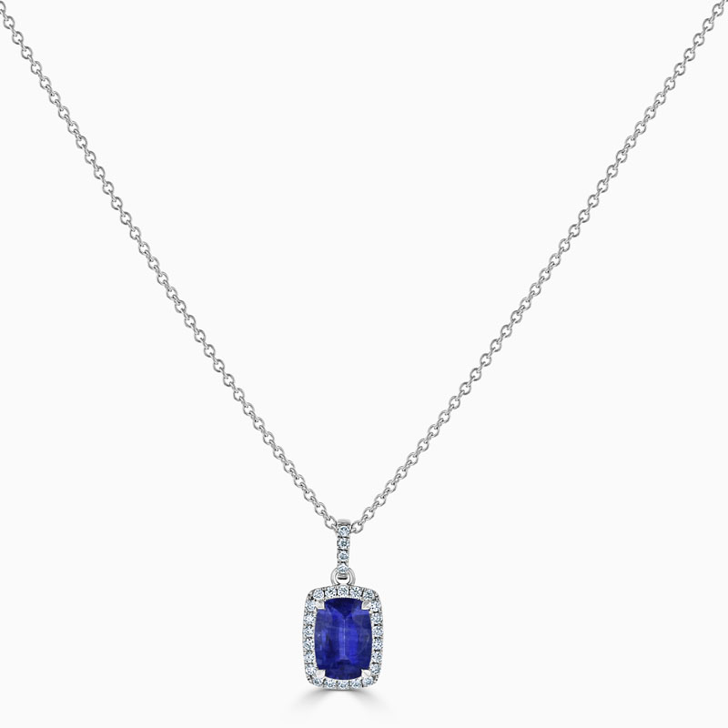 18ct White Gold Cushion Sapphire & Diamond Halo Pendant