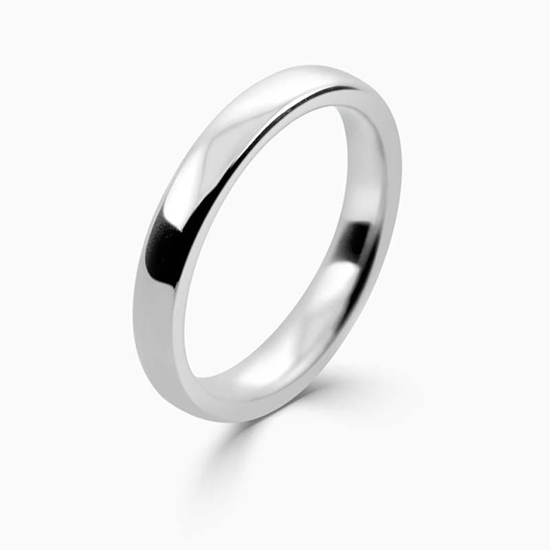 Platinum 3mm Slight Court Medium Weight Wedding Ring