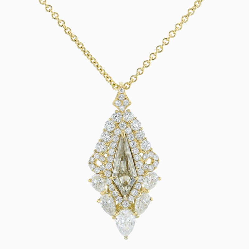 18ct Yellow Gold Fancy Diamond & Pear Shape Pendant