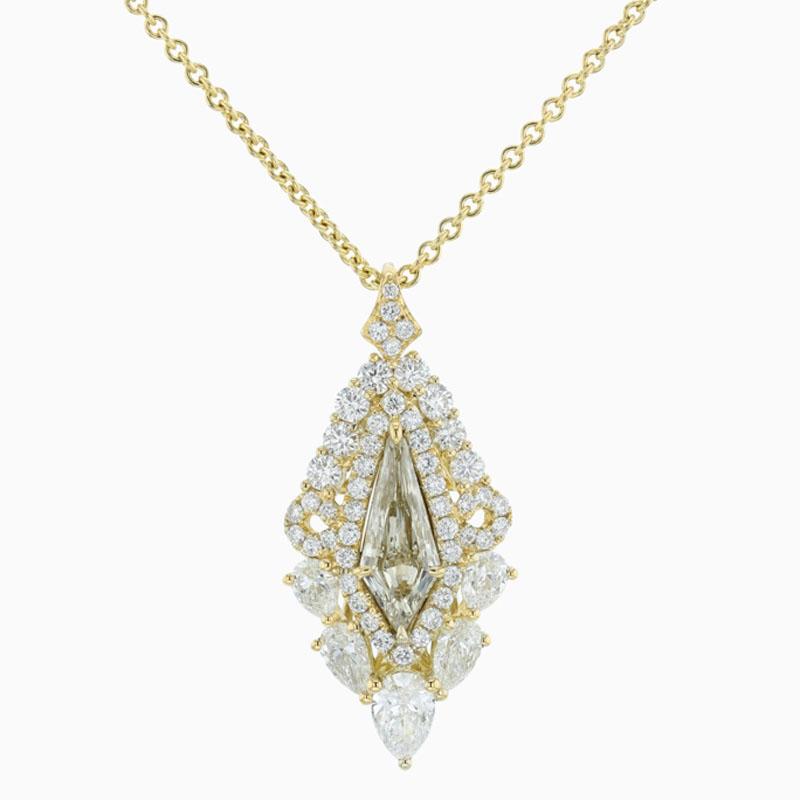 18ct Yellow Gold Fancy Diamond & Pear Shape Pendant