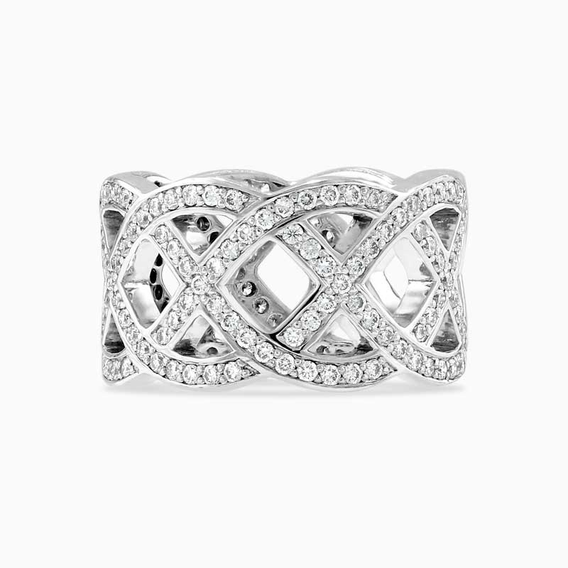 18ct White Gold Woven Diamond Band Ring