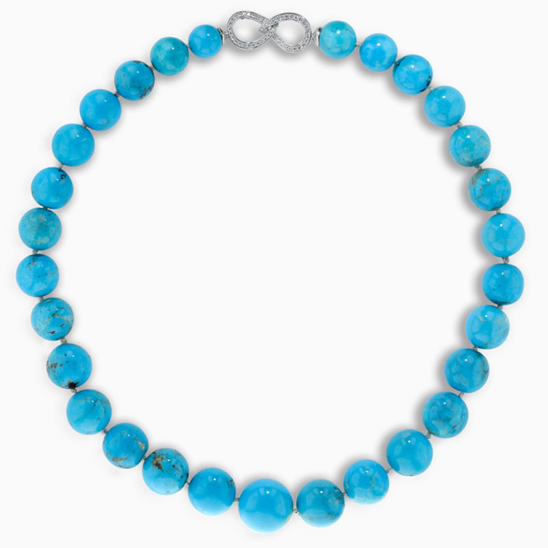 18ct White Gold Large Turquoise Necklace with Diamond Clasp