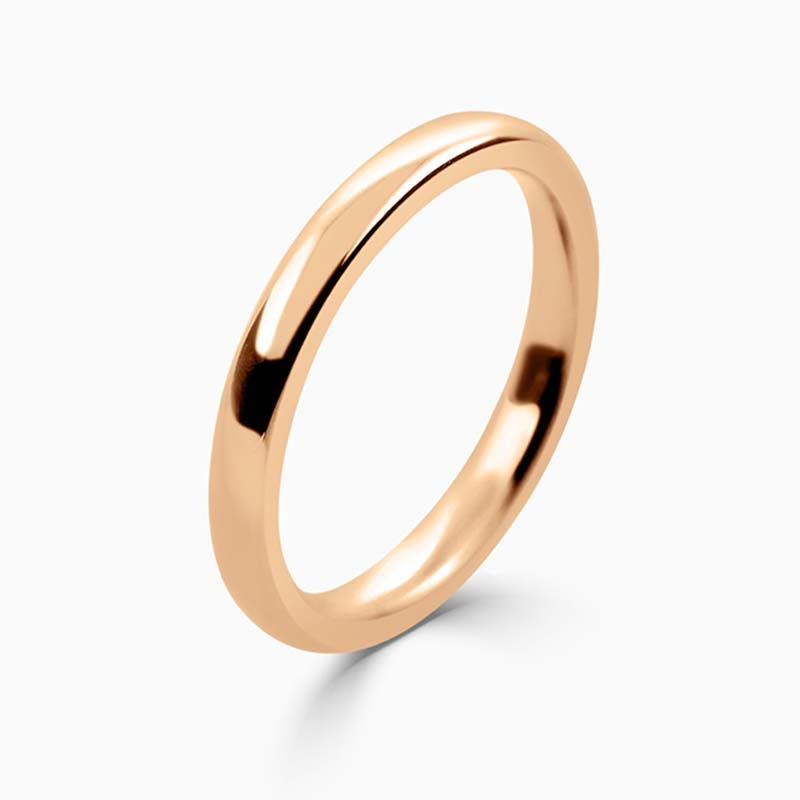 18ct Rose Gold 2.5mm Slight Court Heavy Weight Wedding Ring