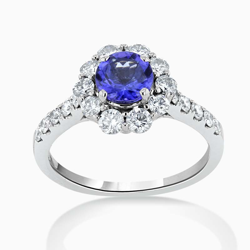 18ct White Gold Tanzanite & Diamond Cluster Halo Ring