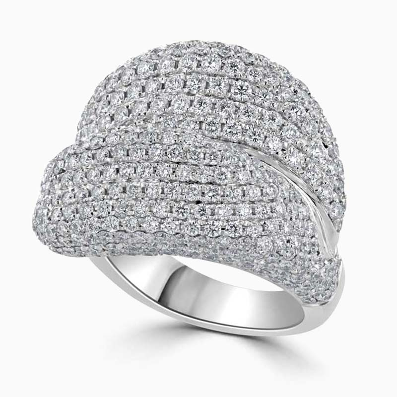 18ct White Gold Pavé Set Crossover Diamond Dress Ring