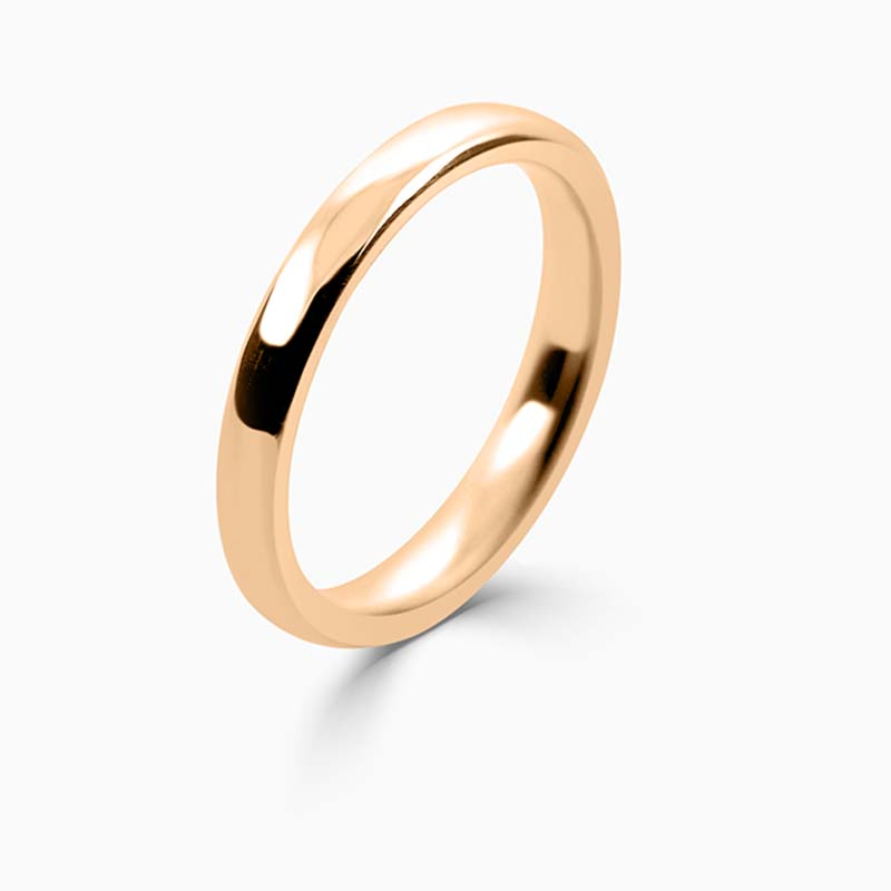 18ct Rose Gold 2.5mm Slight Court Medium Weight Wedding Ring