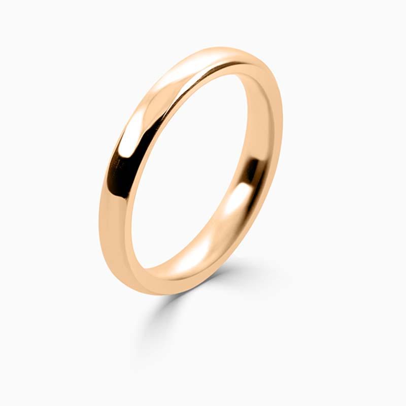 18ct Rose Gold 2.5mm Slight Court Medium Weight Wedding Ring