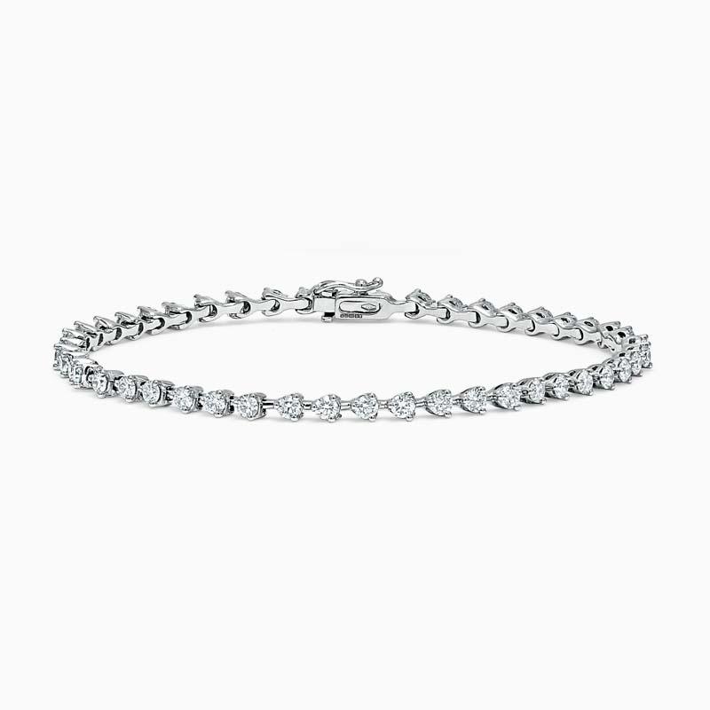 18ct White Gold Round Brilliant Diamond 3 Claw Line Bracelet