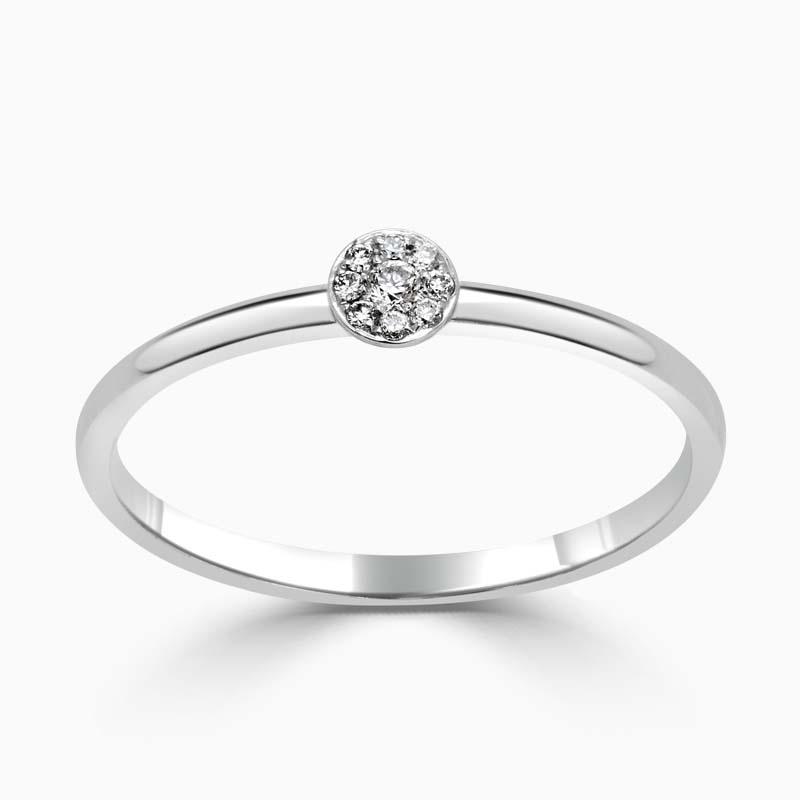 18ct White Gold Pavé Disc Diamond Ring