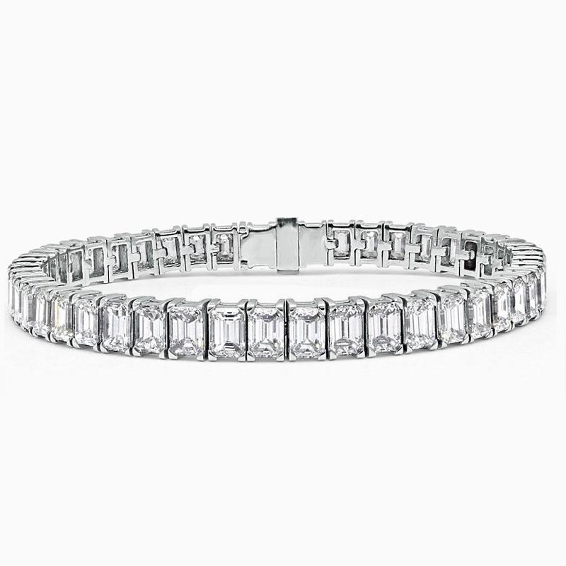 18ct White Gold Emerald Cut Diamond Line Bracelet - 15.93ct