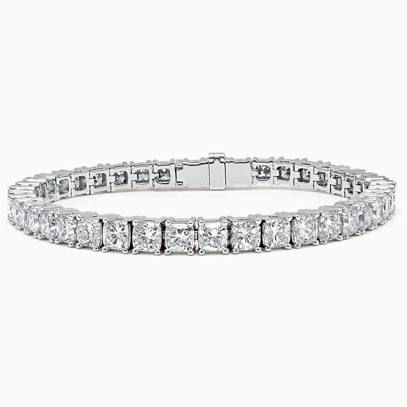18ct White Gold Cushion Cut Diamond Line Bracelet - 15.28ct