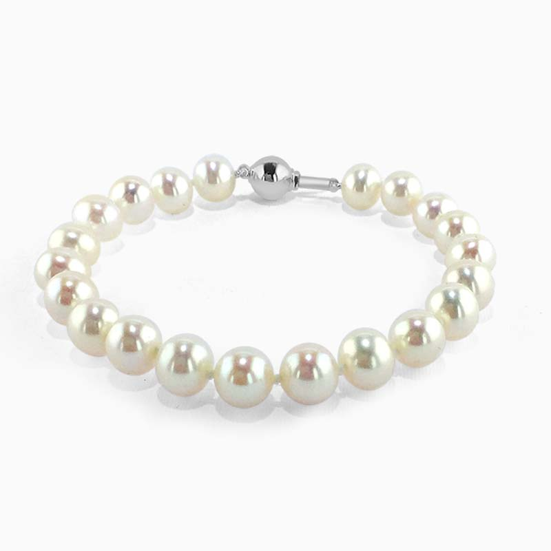 18ct White Gold Akoya Pearl Bracelet (5.5-6mm)