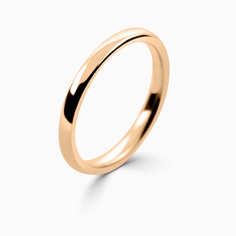 18ct Rose Gold 2mm Slight Court Medium Weight Wedding Ring