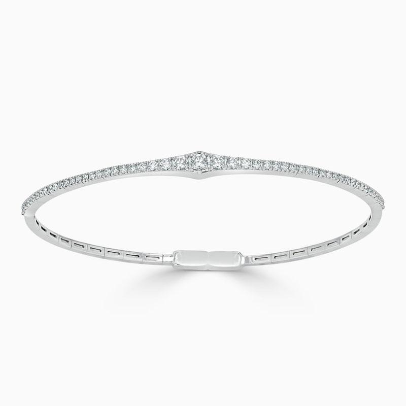 18ct White Gold Diamond Graduated Bangle