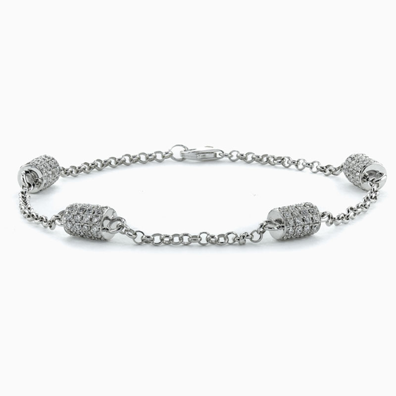 18ct White Gold Cylindrical Motif Diamond Set Bracelet