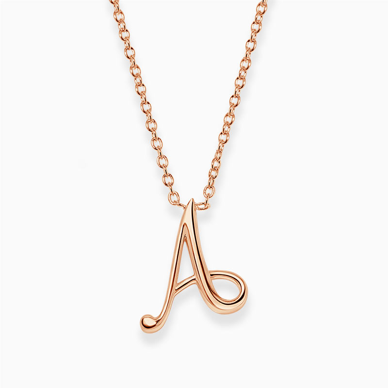18ct Rose Gold A - Initial Pendant