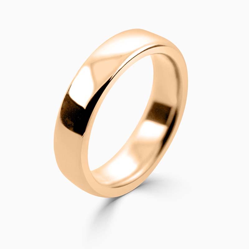 18ct Rose Gold 5mm Slight Court Heavy Weight Wedding Ring