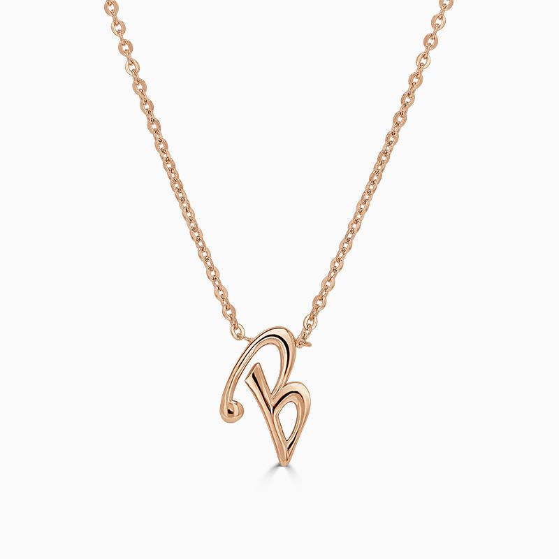 18ct Rose Gold B - Initial Pendant