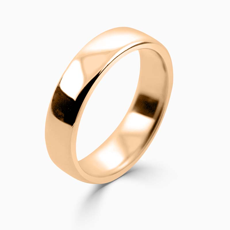 18ct Rose Gold 5mm Slight Court Medium Weight Wedding Ring