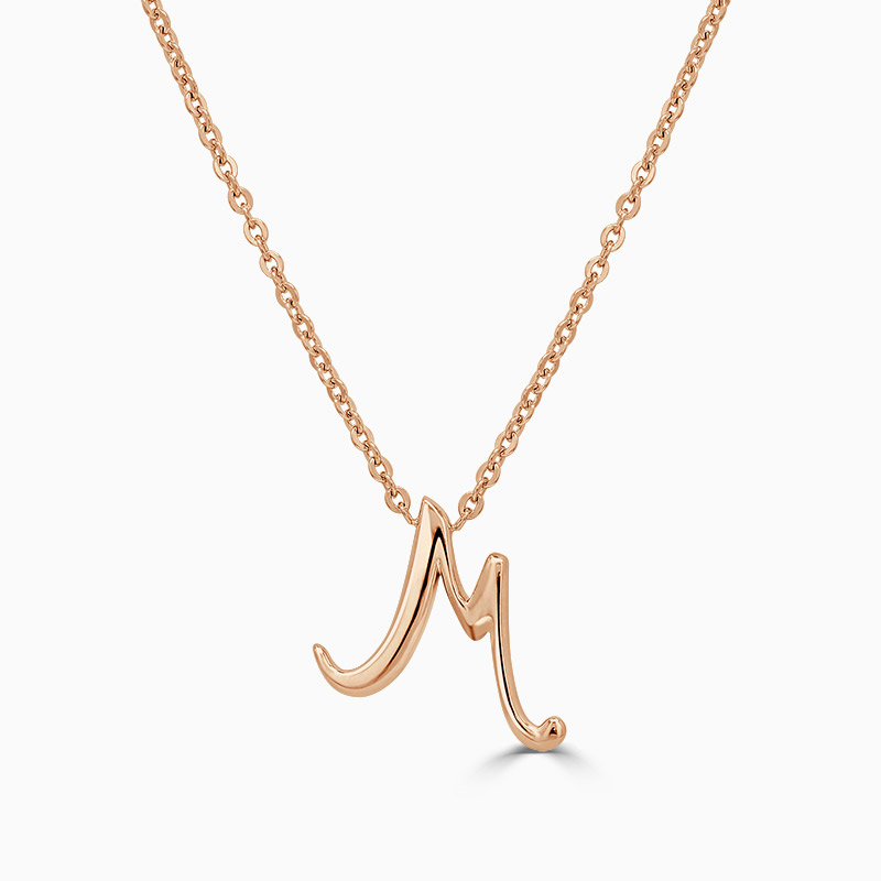 18ct Rose Gold M - Initial Pendant