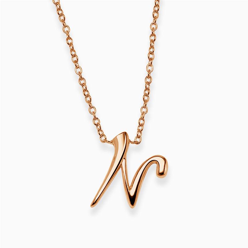 18ct Rose Gold N - Initial Pendant