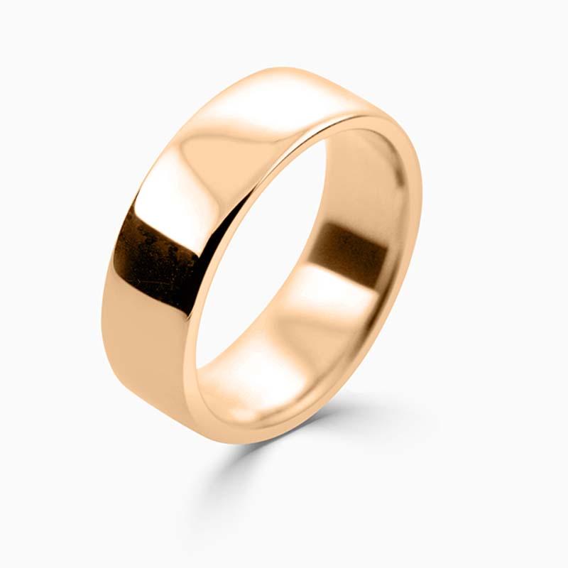 18ct Rose Gold 7mm Slight Court Medium Weight Wedding Ring