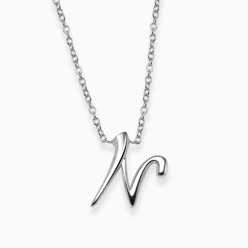 18ct White Gold N - Initial Pendant