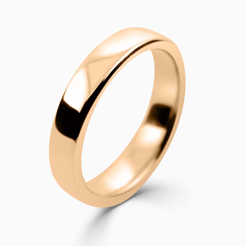 18ct Rose Gold 4mm Slight Court Medium Weight Wedding Ring