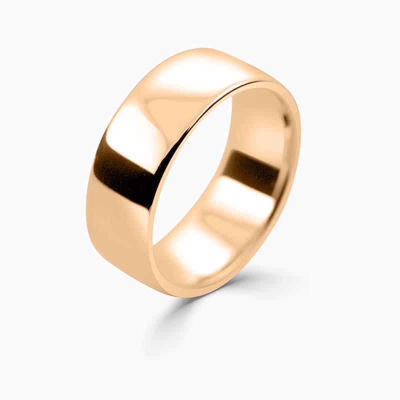 18ct Rose Gold 8mm Slight Court Medium Weight Wedding Ring