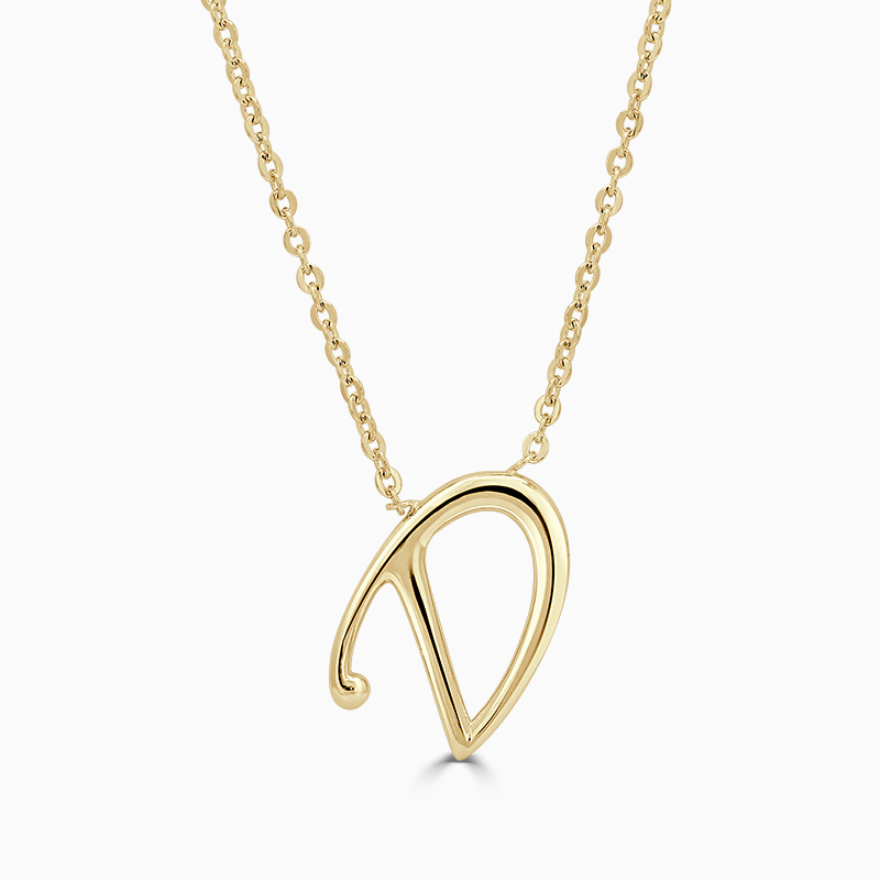 18ct Yellow Gold D - Initial Pendant