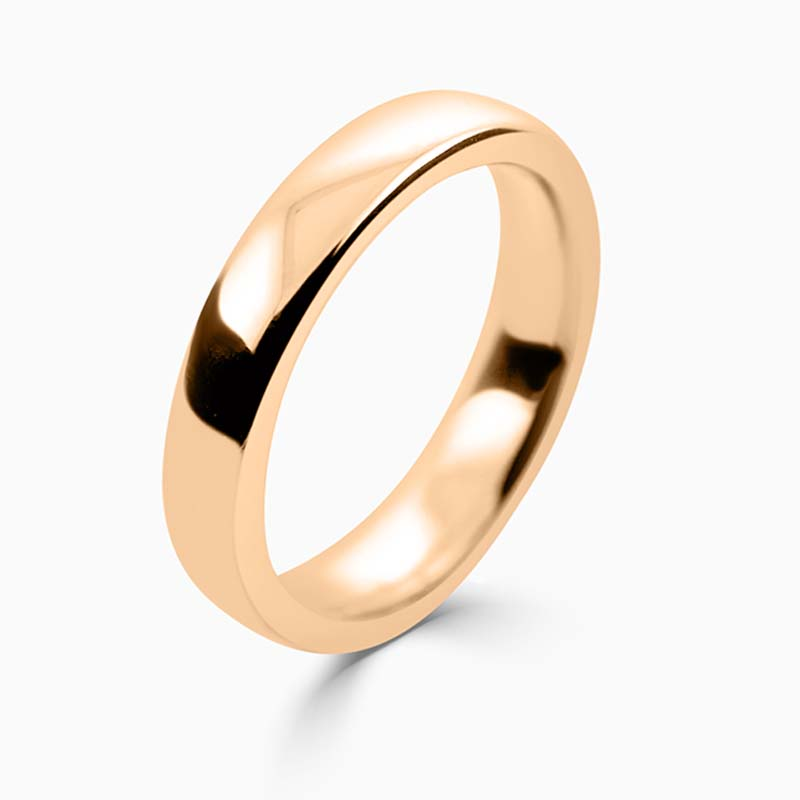 18ct Rose Gold 4mm Slight Court Heavy Weight Wedding Ring